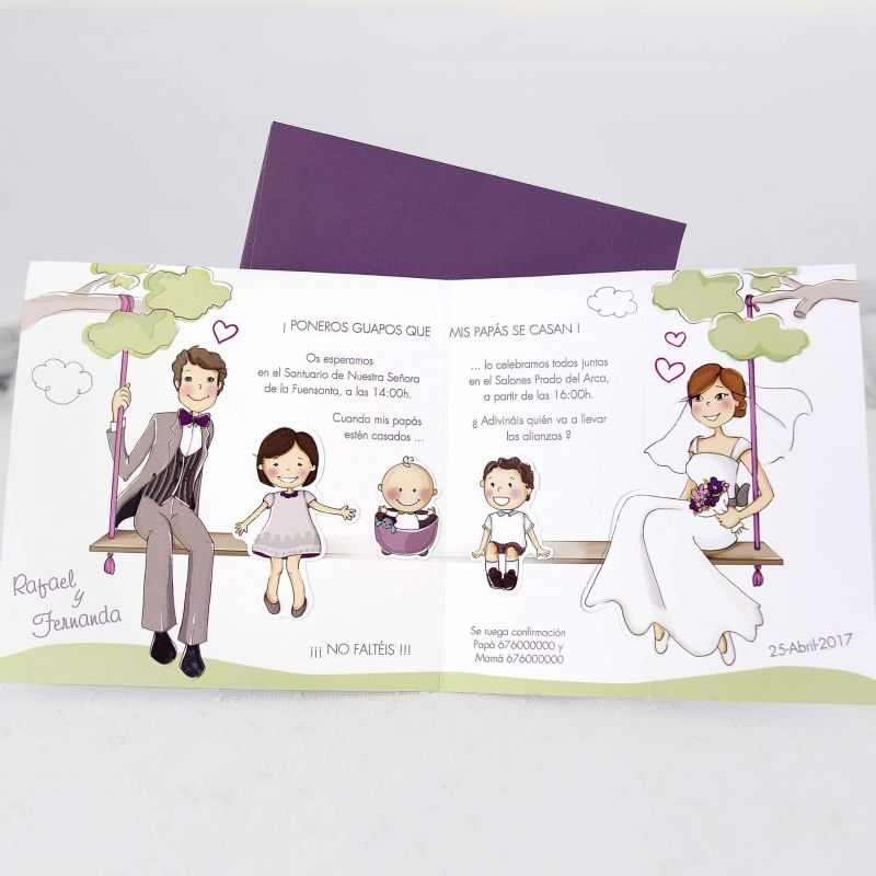 Matrimonio Con Hijos Tema : Invitación boda original y divertida en la que los novios