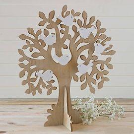 Árbol-joyero de madera con palomas