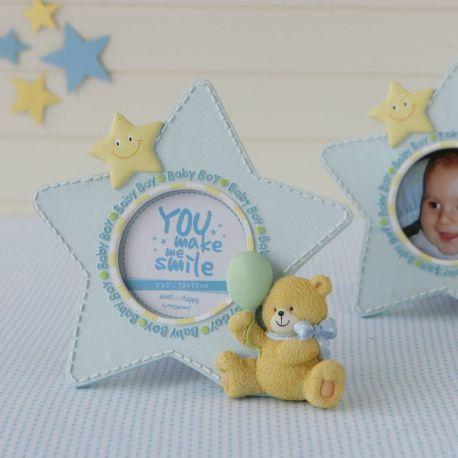 Marco fotos estrella azul y osito.