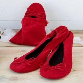 Bailarinas enrollable terciopelo roja. Talla M