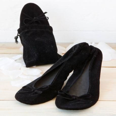 Bailarinas enrollables de terciopelo negro. Talla M
