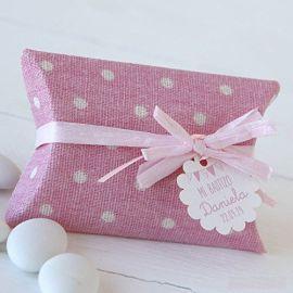 Estuche tela rosa topos 5 peladillas chocolate