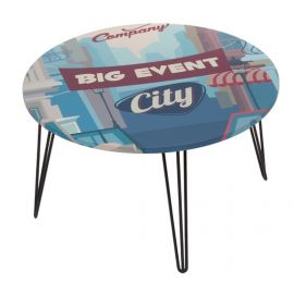 """Mesa redonda centro """"City"""" azul"""