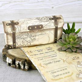 Invitación boda maleta mundo vintage