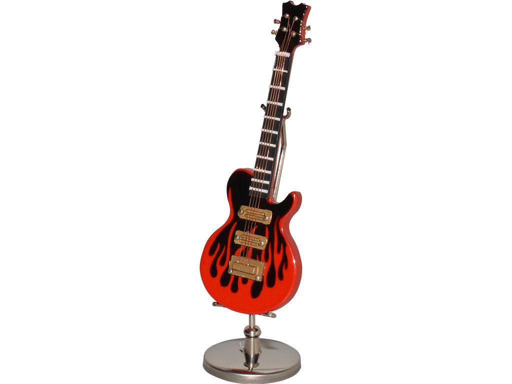guitarra música metálica, color dorado y cromado, con base negra y ...