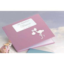 Libro firmas bautizo rosa con grabación