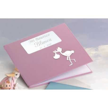 Libro firmas bautizo rosa