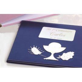 Libro firmas comunión azul con grabación