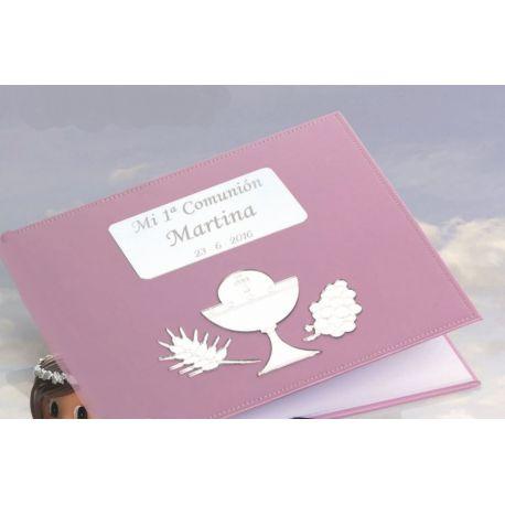Libro firmas comunión rosa con grabación