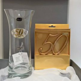 Jarrón cristal Bohemia y plata 50º Aniversario  y decoracion tarta