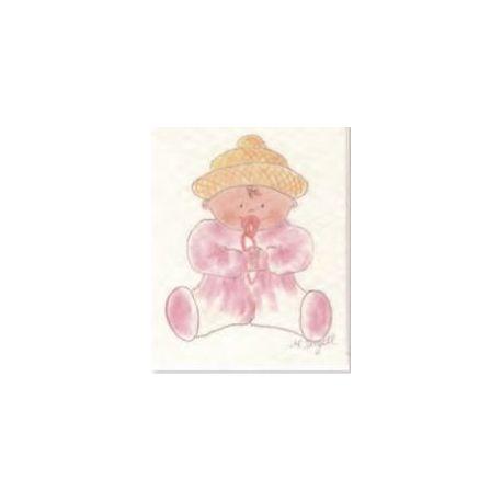 Tarjeta librito bebé rosa