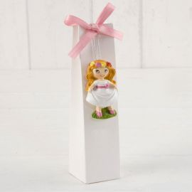 Imán niña Comunión pradera en caja con peladillas