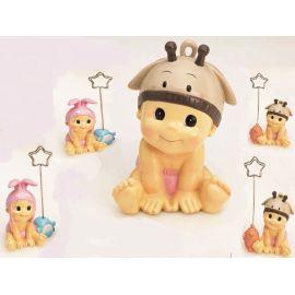 Pack 12 Porta fotos-notas bebé niña gorrito animales y figura de tarta a juego
