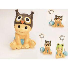 Pack 12 Porta fotos-notas bebé niño gorrito animales y figura de tarta a juego
