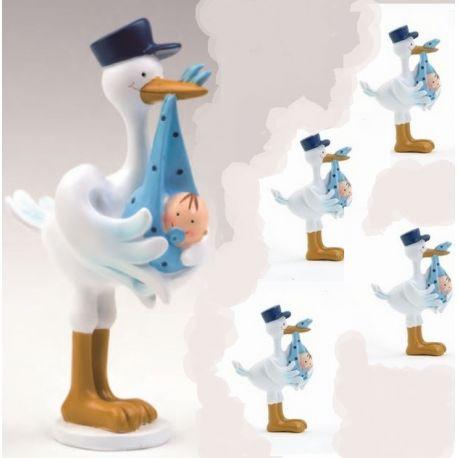 Pack 12 imanes cigueña y figura de tarta a juego bebe azul
