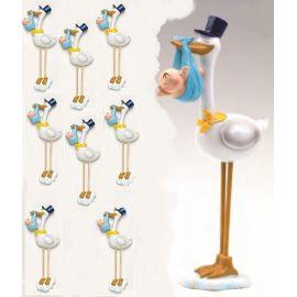 Pack 12 imanes cigueña azul y 2 figura de tarta a juego en nube