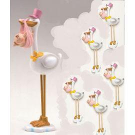 Pack 12 imanes cigueña rosa y figura de tarta a juego en nube
