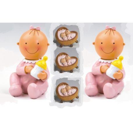 Pack 12 imanes gemelas rosa en cuna y 2 figura/hucha  tarta a juego