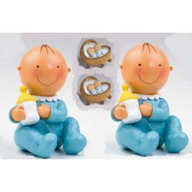 Pack 12 imanes gemelos azul en cuna  y 2 figura/hucha tarta a juego