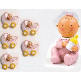 Pack 12 imanes niña en cuna y figura/hucha  tarta a juego bebe rosa