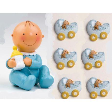 Pack 12 imanes niño en cuna y figura/hucha  tarta a juego bebe azul