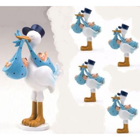 Pack 12 imanes gemelos azul cigueña amorosa  y 1 figura de tarta a juego