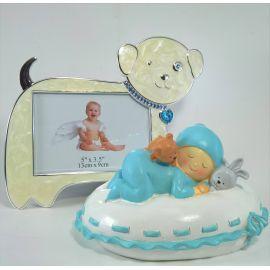 Juego de Hucha bebé almohada azul con marco esmalte
