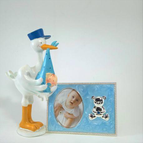 Juego de Figura cigüeña con marco fotos esmalte azul