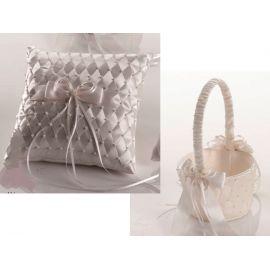 Juego cojín alianzas y cesta arras o pétalos adornado con perlas y rombos