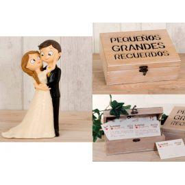 Figura tarta de novios caricia + caja recuerdos con tarjetas mensajes novios. boda