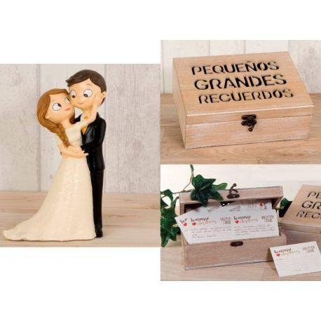 518b18b023 Figura tarta de novios caricia + caja recuerdos con tarjetas mensajes novios.  boda