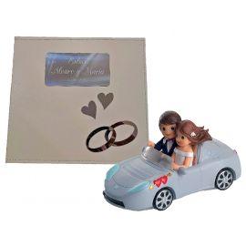Libro firmas boda con grabación y figura novios coche