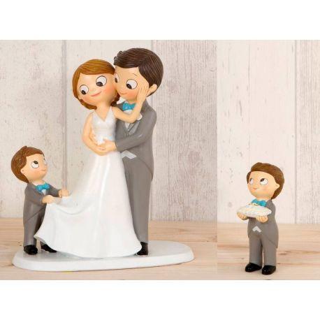 Figura novios tarta con 2 niños
