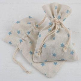 Empaquetado saquito beige y estrellas azules . Pack 48 unidades bolsa algodón (0,99 euros).