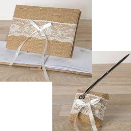 Libro de firmas boda + Boli yute con puntilla