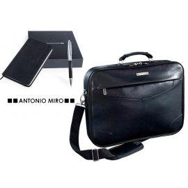 Juego de maletín y set bolígrafo/bloc en piel ANTONIIO MIRO