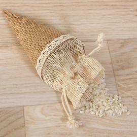Cono-bolsa yute para arroz, pétalos o empaquetados, de 15 cm.