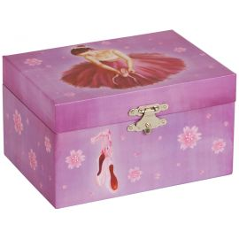 Caja Joyero musical de bailarina , forma rectangular, color rosa