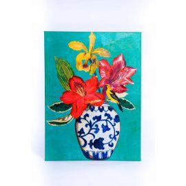 """Cuadro oleo sobre lienzo pintado en acrílico """"Búcaro flores"""""""