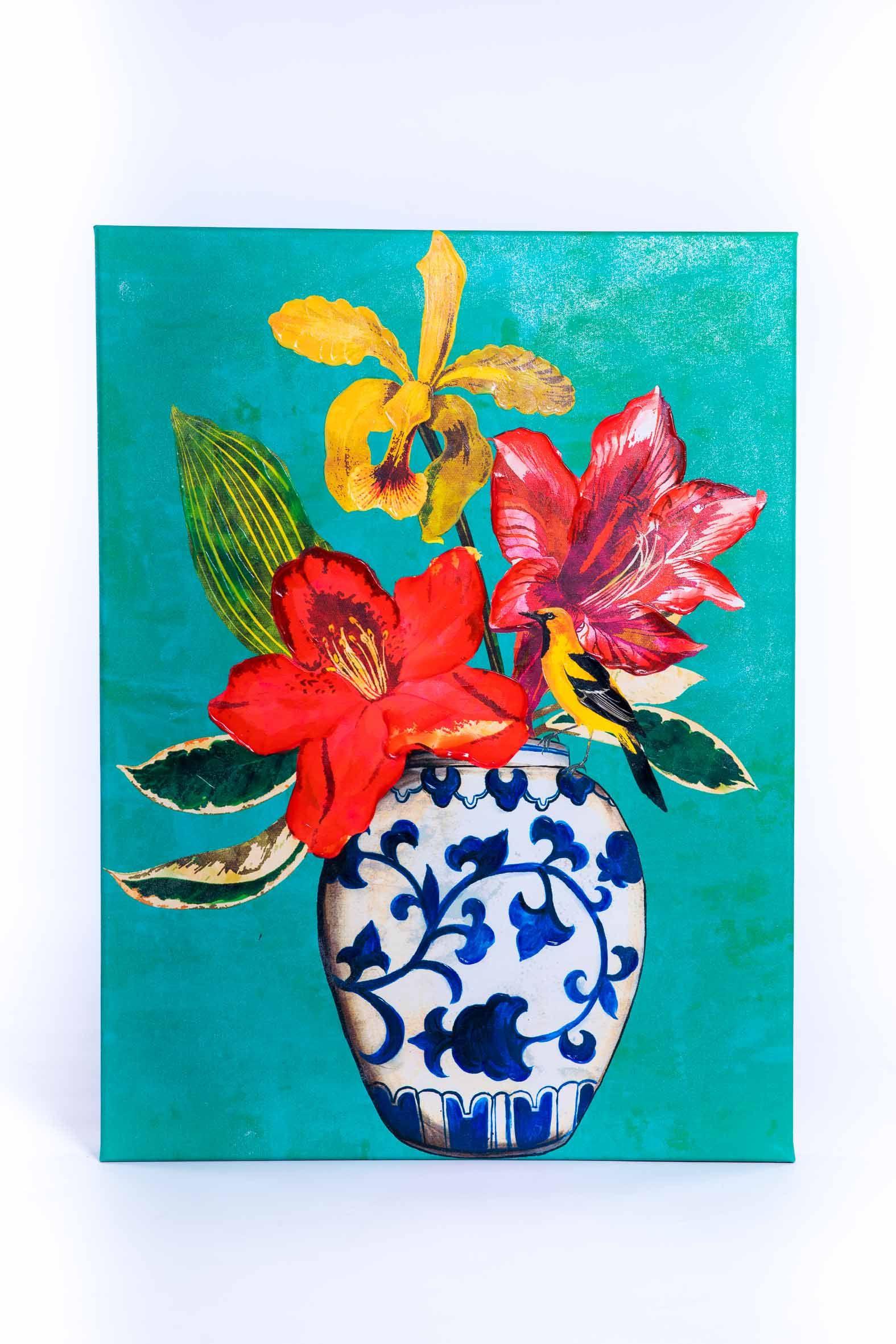 Cuadro Oleo Sobre Lienzo Pintado En Acrilico Bucaro Flores