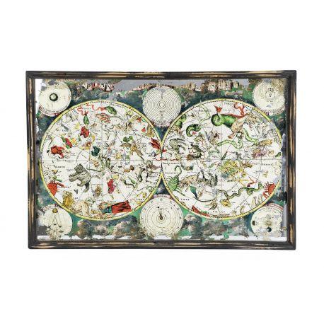 Cuadro mapa con motivos naturales en lámina, cristal y marco madera