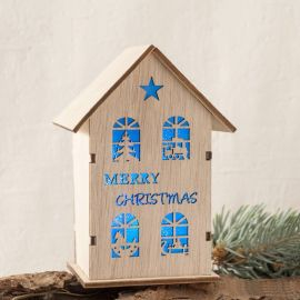 "Casitas madera con luz led ""Merry Christmas"""