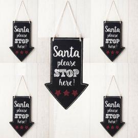 """Pizarra madera para colgar, con indicación """"Stop Santa"""""""