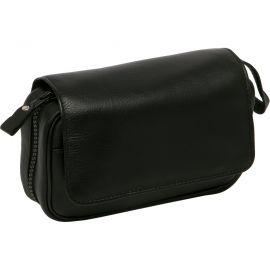 Bolsa para 2 pipas y accesorios en piel, color negro