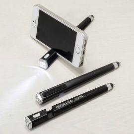 Bolígrafo linterna/puntero/borra huella y soporte para tlf