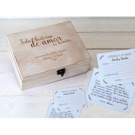 """Conjunto de caja madera personalizada con 25 tarjetas impresas """"Mis deseos"""""""