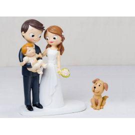 """Figura novios tarta con bebé a brazos acompañados de mascota """"Perro"""""""