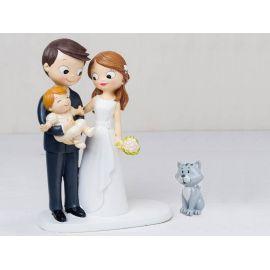 """Figura novios tarta con bebé a brazos acompañados de mascota """"Gato"""""""