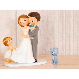 """Figura novios tarta con niña llevando la cola de novia y mascota """"Gato"""""""