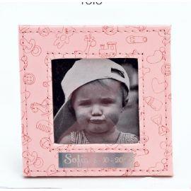 Portafotos piel dibujos bebé rosa
